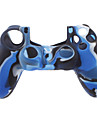 Silicone Skin Case and 2 Black Thumb Stick Grips for PS4 (Navy Blue)