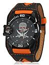 Crâne Motif Hommes cadran rond PU bande de montre bracelet à quartz analogique (couleurs assorties)
