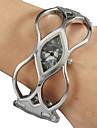 Women's Simple Diamond Dial Hollow Engraving Alloy Band Quartz Analog Bracelet Watch (Random Color)