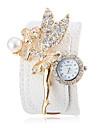 Mulheres Anjo Cristal Decor Branco PU Banda Bohemia Estilo do relógio de pulso