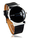 Black PU Leather Watchband Round Metal Gent Wristwatch  Cool Watches Unique Watches
