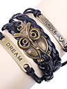 Shixin® European Owl 18cm Women's Blue Leather ID Bracelet(1 Pc)