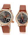 Couple's Note Pointer Round Dial Pu Band Quartz Analog Wrist Watch (Assorted Colors)