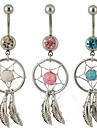 Lureme®316L Surgical Titanium Steel Crystal Dreamcatcher Feather  Pendant Navel Ring(Random Color)\\\\\\\\\\\\\\\\