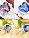 Heart Shaped Rainbow Mystic Topaz Gemstone Silver Ring 1PC