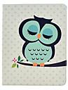 Dormindo coruja Caso Full Body Padrão PU de couro com suporte para iPad 2/3/4