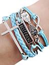 сова крест браслет бесконечность браслет DIY лучший друг кожаные браслеты
