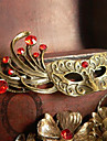 Vintage 57*32mm Bronze Red Gem Mask Shape Brooch(1 Pc)