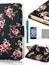 COCO FUN® Rose Black Pattern PU Leather Full Body Case with Film, Stand and Stylus for iPhone 5/5S
