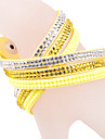 Bracelet en cuir multicouche Rhinestone jaune