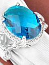 Classic Moonstone Green Quartz Blue Topaz Gemstone Silver Ring 1PC
