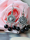 Ethnic Style Black Beads Alloy Drop Earring(1 Pair)