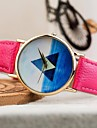 Montre mode triangle motif de mer bleue PU bande de quartz des femmes (couleurs assorties)