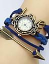 amo moda setas carta tecer couro banda quartzo pulseira relógio analógico das mulheres (cores sortidas)