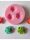 Three Flower Baking Fondant Cake Chocolate Candy Mold,L5.9cm*W5.9cm*H1.1cm