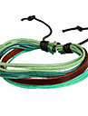 moda tecer 20 centímetros multicolor unissex pulseira de couro feito pelo homem (café, roxo, verde) (1 pc)