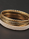 Fashion 7cm Pearl Four Circle Golden Bangles(1 Pc)