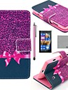 코코 화면 보호기, 스타일러스 보라색 표범 무늬 PU 가죽 전신 케이스를 fun®과 노키아 루미아의 n520 스탠드