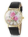 여성의 아름다운 꽃 패턴 PU 밴드 석영 손목 시계 (모듬 색상)를 다이얼