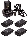 Charging Dock Station + 4X 4800mAh Rechargeable Battery for Microsoft XBox 360 Controller