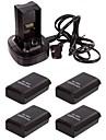 зарядки док-станция + 4x 4800mah аккумулятор для Microsoft Xbox 360 контроллер