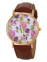 Women\'s Fashion Style Flower Pattern PU Band Quartz Wrist Watch (Assorted Colors) Cool Watches Unique Watches