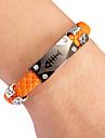 Punk Style Fishbone Orange Leather Bracelet(1 Pc) Leather Color Random