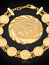 U7® France Napoleon Coin Bracelets 18K Real Gold Plated Link Chain Women Bangle Jewelry