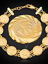 u7® france bracelets napoleon de pièces de monnaie or véritable plaqué 18k femmes de la chaîne de liaison bangle bijoux