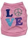 Chat Chien Tee-shirt Vetements pour Chien Lettre et chiffre Rose Coton Costume Pour les animaux domestiques