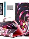 motif puple carton de chat de étui en cuir PU coco de protecter avec écran, support et stylet pour iPhone 6 plus 5.5