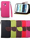 Leaf Buckle Pattern PU Leather Full Body Case with Card Slot And Stand for Samsung S3 Mini I8190N (Assorted Colors)