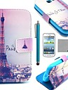 COCO FUN® Eiffel Tower In Night Pattern PU Leather Case with Film and Stylus for Samsung Galaxy Trend Lite 7390/7392