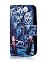 Коко fun® синий шаблон волк искусственная кожа полный случай тела с защитой экрана, стоять и стилус для iPhone 4 / 4s