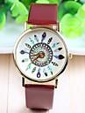 Женские Модные часы Кварцевый PU Группа Цветы Повседневная Черный Белый Коричневый