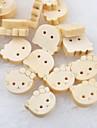 cabeca de gato recados scraft costura botoes de madeira diy (10 pecas)