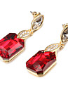 Fashion Leaf Shape Rectangle Crystal Multicolor Alloy Drop Earrings(1 Pair)(Red,Clear)