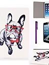 motif verres de chien étui en cuir PU avec protecteur d'écran et un stylet pour iPad mini-1/2/3