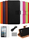 COCO FUN® Ultra Slim Solid Color Genuine Leather Case with Film,Cable and Stylus for Huawei Y300(Assorted Colors)