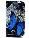 синий шаблон бабочка PU кожаный чехол с подставкой и слот для карт Samsung Galaxy S3 i9300