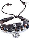 pulseira lureme®vintage padrão âncora liga de multi-linha tecida