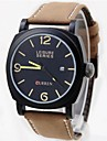 mostrador preto relógio pu banda de pulso de quartzo analógico dos homens