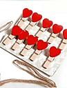 10 pcs coracao de madeira em forma de clips multifuncionais (cor aleatoria)