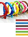 Dog Collar Adjustable / Retractable With Bell Polka Dots Nylon