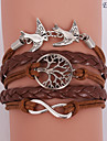 Eruner®Leather Bracelet Multilayer Alloy Love Birds Life Tree and Infinity Handmade