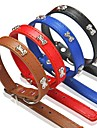 Dog Collar Adjustable / Retractable PU Leather Black Brown Red Blue