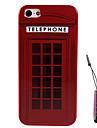 красный телефон домой шаблон жесткий кейс&стилус для iPhone 5 / 5S