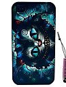 Transverse Blue Cat Pattern Hard Case & Touch Pen for iPhone 4/4S