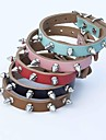 Cat Dog Collar Adjustable / Retractable Studded Rivet Genuine Leather Black Brown Red Blue Pink