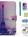 Capinha Para Samsung Galaxy Porta-Cartao Carteira Com Suporte Flip Estampada Capa Protecao Completa Torre Eiffel Rigida PU Leather para A3